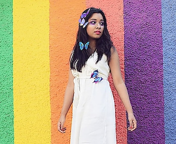 Coming on the blog next and kick-starting the seasons trends with the #pantonecoloroftheyear #ultraviolet 💜  Also, does the background remind you of those rainbow coloured cakes? It certainly does to me! 😁🌈 . . . . . . . . #SkullsAndTulles #styledbyme #wearecreators #stylecrush #fashionportrait #summerday #butterflies #portrait_mood #petiteblogger #messyhair #bangaloregirl #bangaloreblog #springsummer #summerhairstyle #trendsetters #creativeminds #creativehair #creativemakeup #fashionbloggerindia #rainbow #colourmood #bangalorefashionblogger #igersbangalore #bloggerstyler