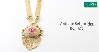 Antique Set for #Her @ Rs. 1672 only available at #KanaiYa , Pramukh Darshan Complex, Pedak Main Road, Imitation Bazaar, Rajkot. Customer Care @ 02816577777 #fashion #love #jewellery  #rajkot #gujarat #diamond #picoftheday #photo #trendy #fashionjewellery #fashionstatement #me #you #festival #uttrayan #lohri #kite #family #friends #fun www.kanaiya.co