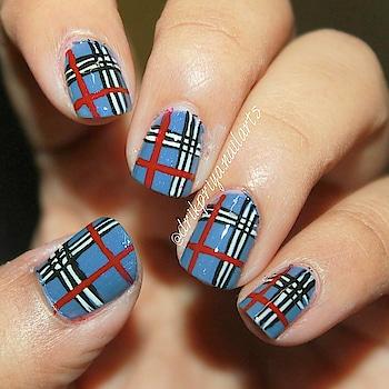 freehand Plaid nailart ! (Shiny) . . . . .  #freehandnails #freehand #freehandnailart #plaidnails #plaidnailart #nailart #design #mattenails #nailsofinstagram #nailsoftheday #nailartist #blogger #nailartblogger #follow #followme #lovefornailart #instanailart #bluenails #matte #fashion #fashionblogger #style #nails #shinynails