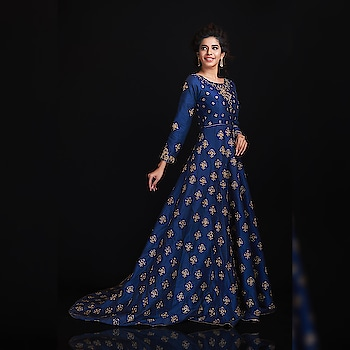 This blue trail gown is definitely our outfit goal for this season.   Rent this look only at www.rentanattire.com.  #outfitgoals #outfit #fashion #rentyourlook #rentanattire #gownonrent #eveninggowns #gownspiration #rentingisthenewbuying #bluegown #trailgown #pune #delhi #mumbai #weddingwear #weddings