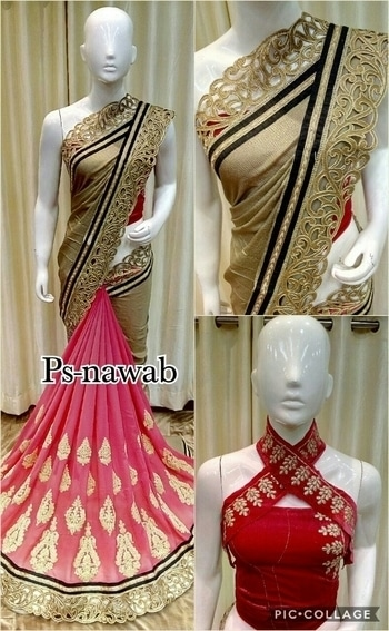 New arrivals. *ps-nawab*  Fabric smog coating Georgette + Georgette with beautiful cuttwork border + heavy stitch butta work in pleates portion + velvet blouse.single colour.
