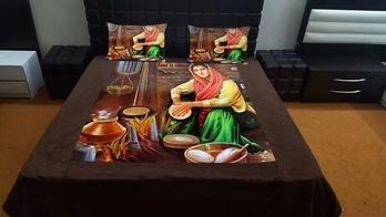 Digital Velvet Bedsheet in king size  100×100 1bedsheet with 2 pillow cover Rs 2300+ship for ordr whatsapp 8454846867