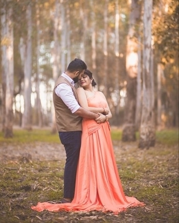 Risha wore our Pleated customised one shoulder maxi for her pre-wedding shoot. #NewStyles #oneshoulder #cutout #Pleated #customised #peach #tail #prewedding #weddingshenanigans