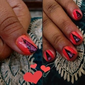 #peach #nailart #peach&black #glitter