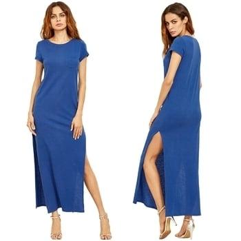 Elegant Blue Split Dress #summerstaple #teedresses #tc5clothingco