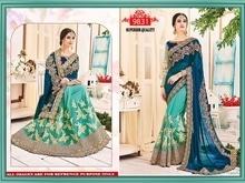D.NO.9831 Georggete pallu Net skirt Banglori silk blouse Net sleeves Rate 2499 free shipping Dps