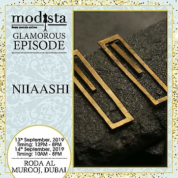 Add that perfect bling!  Style edgy and unique statement pieces of jewelry by Niiaashi, to transition from desk to dinner effortlessly. Shop the designer's collection at Modista, Roda Al Murooj, Dubai on 13th & 14th September.  . . . #Modista #Modistadxb #Niiaashi ##lifestyle #exhibitions #premium #India #fashion #couture #homedecor #accessories #style #luxury #grandeur #fashionistas #underoneroof #savethedate #modistarocks #bollywood #celebritydesigners #dubaievents #festivewear #dubaifashionbloggers