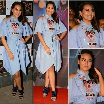 Sonakshi at Gulabi song launch. Wearing this embroidered dress by Kukoon the label dress, shoes at Jimmy Choo, jewellery by Swarovski India, styled by-Aastha Sharma and Rean Moradian.