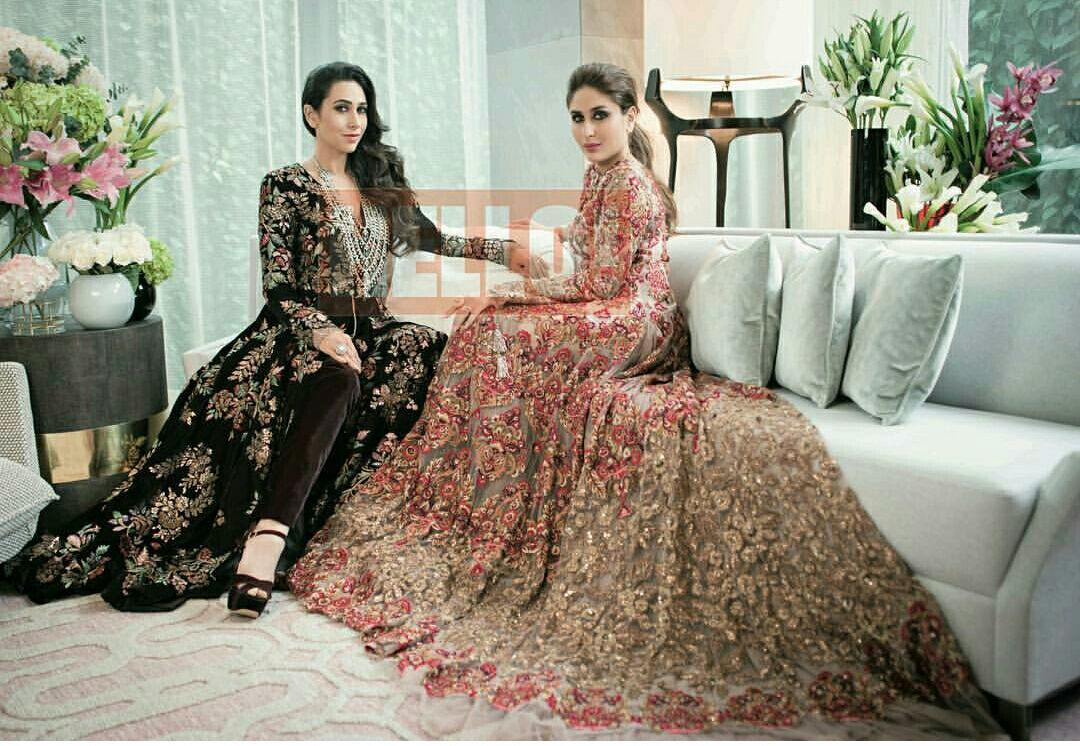 Karishma n kareena stuns in Manish Malhotra Creations in the latest October issue of Hello magazine