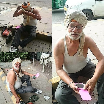 """""""I Will Never Beg!"""" says homeless Sikh man in Delhi  He is an Oxford graduate who shifted to India on the insistence of his brother in the Sixties - 60s.  Today 76-year-old Raja Singh Phull is living a nomad's life -- sleeping at New Delhi Railway 🚉, getting ready at a Delhi Government's sauchalaya at Connaught Place - the first one on the left as you hit CP from Panchkuian Road -- and sits through the day at Visa Centre next to Shivaji Stadium Airport Metro Station at Baba Khadak Singh Marg next to Hanuman Mandir! """"I fill forms, help and guide people earning from zero to 100 rupees, sometimes more!"""" His eye sight and his legs are failing yet he pulls on barely making his both ends meet! He leaves Railway 🚂 station at 6- 15 am. Will be at CP Sauchalaya by 6-40 am going through daily cores, washing his clothes tying his turban with the help of a pocket mirror and have a cup of tea ☕! If there is money a rusk or two would act as breakfast!  There are days that Raja Singh has gone without proper food! """"You are not well and there is no earning you will go without a sqare meal ,"""" quips the old man in immaculate English with a chaste diction!  A good Raja Singh a staunch Sikh too! He has been attached to 'Guru Ghar' all his life! He avoids partaking Langar at Gurdwara Bangla Sahib! """"I earn and buy my food. For Langar I need to contribute. If I'm unable I do not have no right to eat there."""" There are, however, occasions when there is no work and you are dependent on  community kitchen the Gurdwara !  Raja Singh has no remorse that his relations after he lost his wife are mostly wary of him. No help has come from Government or any other quarter! He has got a cell but he cannot get a SIM for want Aadhar card and permanent address! He has only one prayer, """"God should never force me to beg""""! He was reluctant to accept help but with failing health he will need succour sooner or later!"""