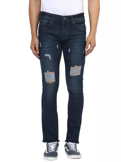 Mild Distressed Narrow - Fit Blue Jeans - (Save-1300) - Discount Price - 1299, Price - 2599(50%OFF)  #fashion #swag #style #stylish #photography #instapic #me #swagger #photooftheday #jacket #hair #pants #shirt #handsome #cool #polo #swagg #guy #boy #boys #man #model #tshirt #shoes #sneakers #styles #jeans #fresh #dope