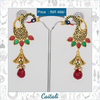 Royal Peacock Jhumkis #price : INR 499/- #shopnow : https://goo.gl/iBvqbe #whatsapp : 7574005500  #peacock #jhumkis #drop #earrings #traditional #jewellery #green #blue #enamel #indian #royal #wedding #collection #bridal #caitali #online #shopping #roposofashion #roposojewellery #roposoindian #roposoblog