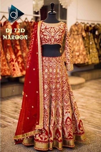 Beautiful bridal Lehanga -@3899/- INR Only,, Fabric details --  sareeint: *💃🏻DJ- 72 (вrídαl lєhєngα )* ,,,,  *💃🏻Colour A - Fuzzy Peach* ,,, *💃🏻Colour B - Royal Blue* ,,, *💃🏻Colour C - Fuchisa Pink* ,,, *💃🏻Colour D - Maroon* ,,,  *💃🏻Lehnga- Banglori (Grand) Embroidery + Badla Zari Work + Diamond work)* ,,,  *💃🏻Inner- Santoon* ,,,,  *💃🏻Blouse- Banglori ( Front/back heavy Grand Embroidery + Diamond Work )* ,,,  *💃🏻Sleeves - 3/4 sleeves with Grand Heavy  Embroidery + Diamond Work* ,,,,,  *💃🏻Duppata- Bright Moss Chiffon (2.5mtr) (Grand Embroidery + Diamond work + Latkan)* ,,,,  *💃🏻Length Ghagra- 44inch* ,,,,  *💃🏻Lengha Flair - 3.25 Meter* ,,,,  *💃🏻Waist Size - 46 (XXXL)* ,,,,  *⚖Weight-  2kg+* ,,,,  💃Wear it Party it💃 **WHATSAPP ME AT +91 9760614947**