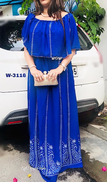 """Loot lo offer price ❣❣❣❣❤❤❤❤❤❤❤  Wow®🌟🌟🌟🌟🌟 (Brand of U.0)  _Dress like you""""re already famous_👰🏼  💕Bollywood special Shilpa Shetty dress💞 Beautiful medium length Georgette dress with lining  Bust Size34 36 38 40 42 44 46 48(free) Waist stretchable 30 to 48 Len 44-45 Lovely fit dress ✔ to all Wear as elegant simple dress👈🌹 Wear off shoulder 👈🌹 Wear as one side off shoulder 👈🌹 Wear as dupatta wrapped dress👈🌹 😍One dress one price 4 style😍 Be beautiful be stylish🧚♀ Party wear n casual wear dress  ~Price-629~✖✖ 😱😱🤪🤪😍😍😘😘 ❤❤❤❤❤❤❤❤❤❤❤❤ *Price 529+$* ✔✔ Yes yes🤗 (Inclusive of gst) ❤❤❤❤❤🌹❤❤❤❤❤❤ Limited stock book it fast  Book fast🏃♀🏃♀🏃♀🏃♀🏃♀🏃♀🏃♀   Direct Message us or whatsapp on 9867764381   Follow us 👉🏻on FB:  *https://www.facebook.com/Stylista-Fashionss-2137660539847810/*  #stylistafashionss #style #fashion #trend #readysuit #dressmaterial #ethnic #western #fashionjewellery  #handbags #kurti #botttomwear #onestop #shopping #saree #readymadeblouse #lookstylish #bethefashion #shopstylistafashionss #onlineshopping #bestquality #bestprice #bestbuy #swag"""