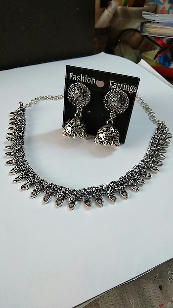 oxidized silver necklace with Earrings..275rs chat for price.. u can visit our instagram (#bmnwomenaccessories)