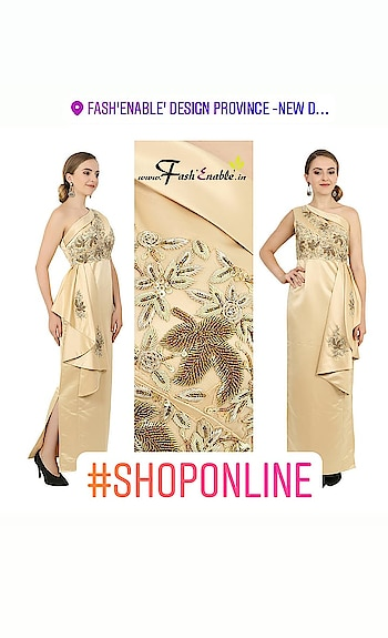#FashEnable #hotselling #goldengown  Made in #dutchsatin #embellished with #handembroidery #dabka #beadwork #sequins #oneshoulderdress #sideslit #eveninggown #cocktaildress #handmade #handcrafted #drapeddress ✨ DM for #customclothing or shop from our website www.fashenable.in ❤ . . . . . #beautiful #stylestatement #couture #indowestern #instafashion #fashionista #fashiongoals #fashionupdates #style #bespoke #shoponline ✨