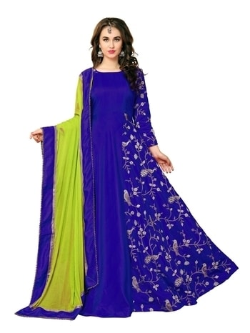 Ds no. :- kg-09 Color Dark Blue Size Free Size Fabric Banarasi Silk Inner Fabric Micro Type Gown Dupatta Fabric Nazneen Chiffon Work Embroidery Neck Type Round Neck Sleeve Type Full Sleeve Stitch Type Semi Stitched Bust Size up to 42 inch Dupatta Color Royal Blue, Parrot Top Length 56 inch Top Fabric Banarasi Silk Weight 0.45 kg PRICE: Rs. 2000/-