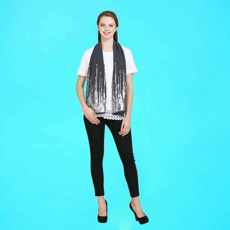 Grey scraf with silver sequins and stonework. Using Georgette fabric Rs.360 #grey  #greylove #greyscarf #scarf #scarflove #trendy #trendalert #women-fashion #embellished #stonework #georgette #missgudi