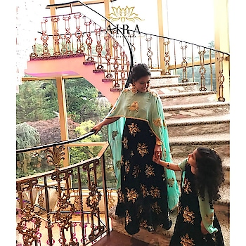 We can't stop crushing over this adorable mother daughter duo. Loved crafting this royal blue velvet gown with attached sea green cape. 💕  Get your coordinated outfits for perfect twinning only at Aira. For orders, contact us at 8329882296 or email us at airabyaishwarya@gmail.com  #aira #airabyaishwarya #clientdiaries #motherdaughter #happyclients #motherdaughterfashion #twinning #outfits #motherdaughterlove #fashion #trends #trending #indowestern #gown #cape #design #royalblue #seagreen #indianwear #indianwedding #weddingdiaries #eveninggown #eveninglook #dmfororders #instamoms #instakids #fashiondesigners #punedesigners