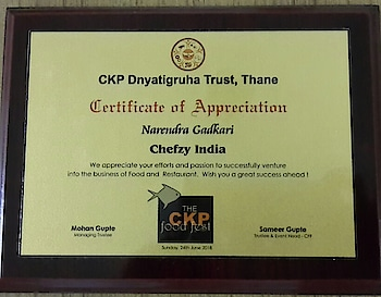 CKP Dnyatigruha Trust, Thane felicitated CKP business persons who have ventured into the business of Food and Restaurant from all over. Around 25 persons from all over from the CKP Community were felicitated on 24th June 2018 at CKP Hall, Thane. The Chief Guest of the program was Actress Jui Gadkari (Big Boss fem) and Guest of Honour  Col. Dr. Dipti Chitnis (US Army), Shri. Mohan Gupte Managing Trustee, other Trustees and Shri. Sameer Gupte Trustee and Event Head CKP Food Fest were present. It was a proud moment for me personally, as I (Narendra Gadkari of Chefzy India) was one of the CKP community member from Vadodara to be felicitated by the hands of Ms. Jui Gadkari, in presence of great Col. Dr. Dipti Chitnis and other CKP community dignitaries from Mumbai and Pune. My personal thanks to Shirish Mahagaonkar to have suggested my name from Vadodara. My sincere thanks and gratitude to Sameer Gupte and CKP Dnyatigruha Trust, Thane for having recognized us. This felicitation is also an encouragement & motivation to the young generation to get into the profession of Food & Restaurant. My special Thanks to my sister Arundhati Gaekwad and her family and Suhasini Gadkari my wife and my family for supporting me and helping me in my business. A very special Thanks to Ruturaj Gaekwad , Ranjit Chavan and all my friends and well wishers and our customers for encouraging me. #JuiGadkari #SameerGupte #CKPDnyatigruhaTrustThane #ShirishMahagaonkar #CKP #ChefzyIndia #Vadodara