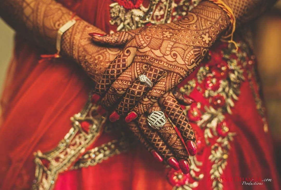 Look at that dazzling diamond intensifying her dark intricate mehendi! Image Credit: romeshdhamijaproductions  #WedLista #FashionForWeddings #wedding #hennadesign #brides #bridesofroposo #roposolove #soroposo #beautifulbride #indianbride