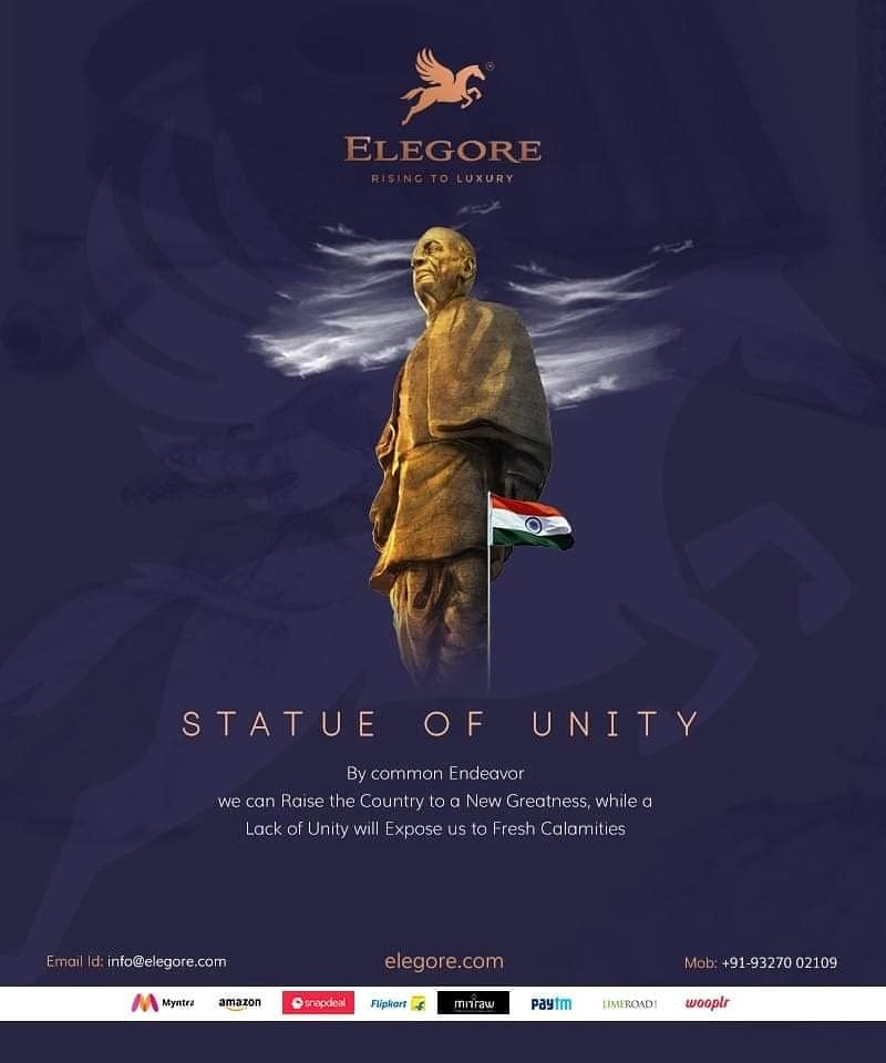 By Comments Endeavour, We Can Raise The Country To A New Greatness, while A Lack Of Unity Will Expose Us To Fresh Calamities.  The Iron Man of INDIA The Statue as Grand as the Stature. STATUE OF UNITY.                          The world's tallest statue — Statue of Unity — as a tribute to freedom fighter and India's first Home Minister Sardar Vallabhbhai Patel.Prime Minister Narendra Modi #narendamodi  today unveiled the Statue of Unity, which at 182 metres is the tallest in the world, as a tribute to freedom icon Sardar Vallabhbhai Patel on his 143rd birth anniversary.  We #teamelegore Salute To The Vision Of Prime Minister Mr. Nardendra Modi #narendramodi & His Team for Creating Such a Wonderful Landmark.   #stylebook #unityelegore #fashionstatement #fashion #ootd #fashionphotography #streetfashion #fashionlife #luxurybrand  #trendsetter #fashionista #fashionlover #stylish #fashionable #fashionindia #fashionstyle #style #ootdfashion #stylist #fashionaddict #women #womenfashion #elegore #trendy #fashiondiaries #germany #fashiondiaries #fashionaddict #trends #luxurylifestyle #fashionable #streetfashion #trend #trending #trends #narendramodi #teamElegore #stylebook #fashionstatement #fashion #ootd #fashionphotography #streetfashion #fashionlife #luxurybrand  #trendsetter #fashionista #fashionlover #stylish #fashionable #fashionindia #fashionstyle #style #ootdfashion #stylist #fashionaddict #women #womenfashion #elegore #trendy #fashiondiaries #germany #fashiondiaries #fashionaddict #trends #luxurylifestyle #fashionable #streetfashion #trend #trending #trends #india #statueofunity #teamElegore #roposo #soroposo #soroposogirl #fashion  #elegore  #teamelegore  #stylebook  #fashionstatement  #fashion #australia  #ootd  #streetstyle  #streetfashion  #fashionlifestyleblogger  #luxurybrand  #milan  #trendsetter  #fashionista  #fashionlover   #usa  #fashionables  #fashionblogger  #fashionstyle  #styles  #whatiwore   #stylistdiaries  #fashionaddict  #lookbook  #women  #womensfashion #be-fashionable  #fashionaddict  #fashiondiaries  #france  #summer-fashion #ropo--fashion #westernwear #western-dress #westernlook #divaoftheday #diva #styling #ootdroposo #ootding #dailystyle #street fashion  #roposo-famous #women-clothing #womenapparel #women-fashion #happieness  #monday #wedding-suits-designer #trendingred #trends #trendingnow #trending #virushka  #indianblogger #firstpost #blogger #womenonroposo #captured#fun  #roposo-style #roposolove #ropo-love #mood #nature #roposogal #jhakkas #beats #roposo #queen #photography #love #fashionblogger #soroposo #fashion #ropo-good #model #dude #roposotalenthunt #elegore #bestdesign #latest #newyeargift  #shopping#dealoftheday #offer #hollywood #bollywood #brand #instamumbai #mumbai #delhi #bestquality #love #fashioninsta #fashionbrand #madhuridixit #instagram #MI #sexydress #passionforfashion #greatmadness #newyearevening #partywithdress  #anuskashetty #bestdress #maxidress #trendycollection #besttowinterwear #bestoutfit #readytowear #bestofdeal #fashionwear #trends #swagseswagat #lifestyle #loveyourself #model #roposogal #roposolove #makeup #roposo-style #bollywood #ootd #styles #like #fashion #roposo #rock_n_shop  #beauty #blogger #fashionblogger #ropo-love #soroposo #roposotalenthunt #newdp #love #bindaas #followme #beatsful   #happy #monday #wedding-suits-designer #trendingred #trends #trendingnow #trending #virushka #indianblogger #firstpost #blogger #womenonroposo #captured #fun #roposolove #mood #nature #roposogal  #soroposo #fashion #ropo-good #model  #bazaar