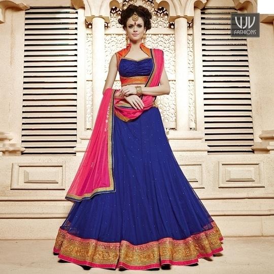Buy Now @ https://goo.gl/kqRAIP  Exciting Navy Blue Color Soft Net Lehenga Choli  Fabric- Net  Product No 👉 VJV-GAJI661  @ www.vjvfashions.com #lehengas