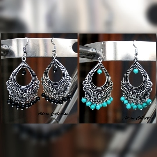 'Bold Black' or the 'Intense ocean' @asianpaints. What is your pick?  #antique#elegant#oxidized#jewelry#earrings#silver#antique#beauty#Indian#traditional#jewelrycollection#adorn#adorncollection#exquisite#collection#shop#with#us  For Price, Comment Below.