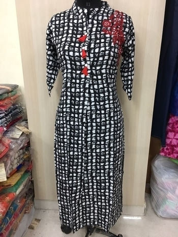 Rayon printed long with cord thread and moti work. Xl and xxl. 1250+$ D