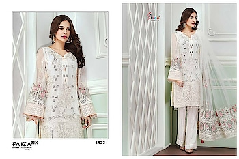 Brand :- *SHREE FABS* Faiza luxury collection vol 5 1131 SERIES SUITS  Catlouge :- *Faiza luxury collection vol 5* *Fabrics:* top :-  fox jorget with santoon inner bottom :- santoon duppta :- net & najmeen embroderd  des 4 in one set   Rate :- please contact me WhatsApp 9898358024  🚚MINIMUM ORDER FULL SET : 4 PIC