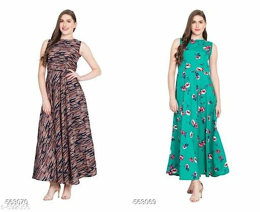 Partywear Printed Crepe Dresses Combo Vol 1 Fabric: Crepe   Sleeves: Sleeves Are Not Included   Size: S-  36 in, M - 38 in, L - 40 in, XL - 42 in, XXL - 44 in   Length: Up to 54 in  Type: Stitched  Description: It has 2 Piece of Women's Dress  Work: Printed  Dispatch: 2 – 3 Days
