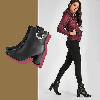 Sleek and edgy these boots are made for flaunting . . .  #INTOTOs #globaltrends #trending #dailyfashion #shoefie #womenswear #musthave #daylook #INTOTOxKOOVS #newcollection #brandshop #weekendwear #partywear #blackheels #new #weekendfashion #trendy #black #formalwear #blockheels #newshoes #elegant #minimal #casualshoes #shortheels #pointedtoeheels #whatshot #blackshoes #koovs