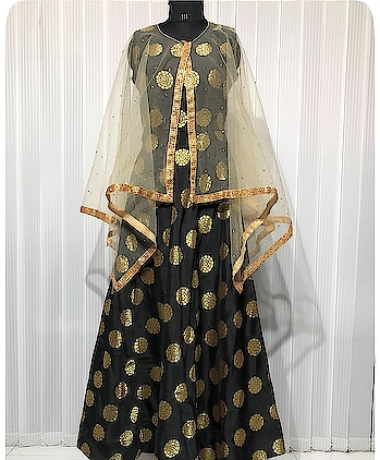 *ADS DESIGNER BANARASI GOWN*  *Product code: 338*  *Colour: Black*  *Bottom: Black*  *Top Fabric: Banarasi Silk*  *Bottom Fabric: Santton*  *Dupatta: Cape Dupatta Net Fabric with Diamonds Attached*  *Top Length:57*  *Bottom Length: 42*  *Flair:3:5 mtr*  *Fits Upto:42*  *Weight:1.5 kg*  *Price: 2395+s-*  *Pattern:Cape Gown*  *Look: Designer*  *Ocassion: Multipurpose* Whatsapp me at +91 7830378415  #lehenga#lehengacholi#indianfashion#indianweddings#sagan#mehndi#designerdress#delhi#mumbai#fashion#dallas#dallasindia#wedding#indianwedding#london#londonfashionweek#canada#australia#dubaifashion#dubaiethnic#womenfashion#trendy#latest#sareehyderabad#delhi#delhistreet#pune#bangalore#delhiwedding#floral