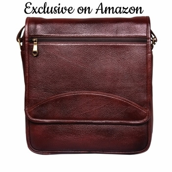 Leather World 12 Inch Trendy Brown Genuine Leather Laptop Office Briefcase Messenger Cross Body Portfolio Bags for Men & Women #leather #officebag #messengerbag #crossbodybag #slingbag