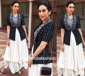 Classy look of Karisma Kapoor in Indo- Western Outfit.