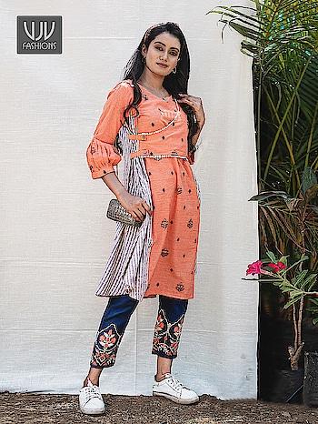 Buy Now @ https://bit.ly/2IZ1Uid  Auspicious Orange Color Khadi Embroidered Designer Kurti  Fabric- Khadi  Product No 👉  VJV-MESM1405  @ www.vjvfashions.com