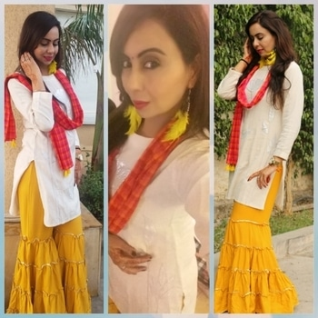 #look 2 # simple but elegant #yellow theme #sharara in the style of Pakistani look#nude makeup #fresh look # striking yellow earrings#