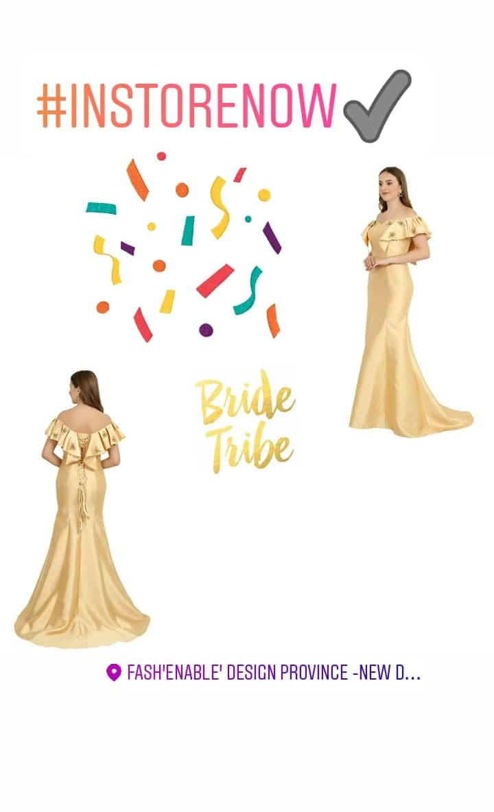 #FashEnable #goldengown ✨  #instore now 💖 #madebyhand with #goldenembroidery on #dutchsatin to give #luxurious #look 🌸 Perfect for #bridesmaids #weddingfashion 🌸 . . . . . . . #goldendress #trailgowns #bridesmaidsdresses🌷 #weddingdress #weddingtrousseau #weddingfashion #weddingdesigner #weddingideas #instagoal #instafashion #customdesign #bespoke #bridaldress #bridalcouture #bridalparty #bridalgowns DM for inquiry ✨