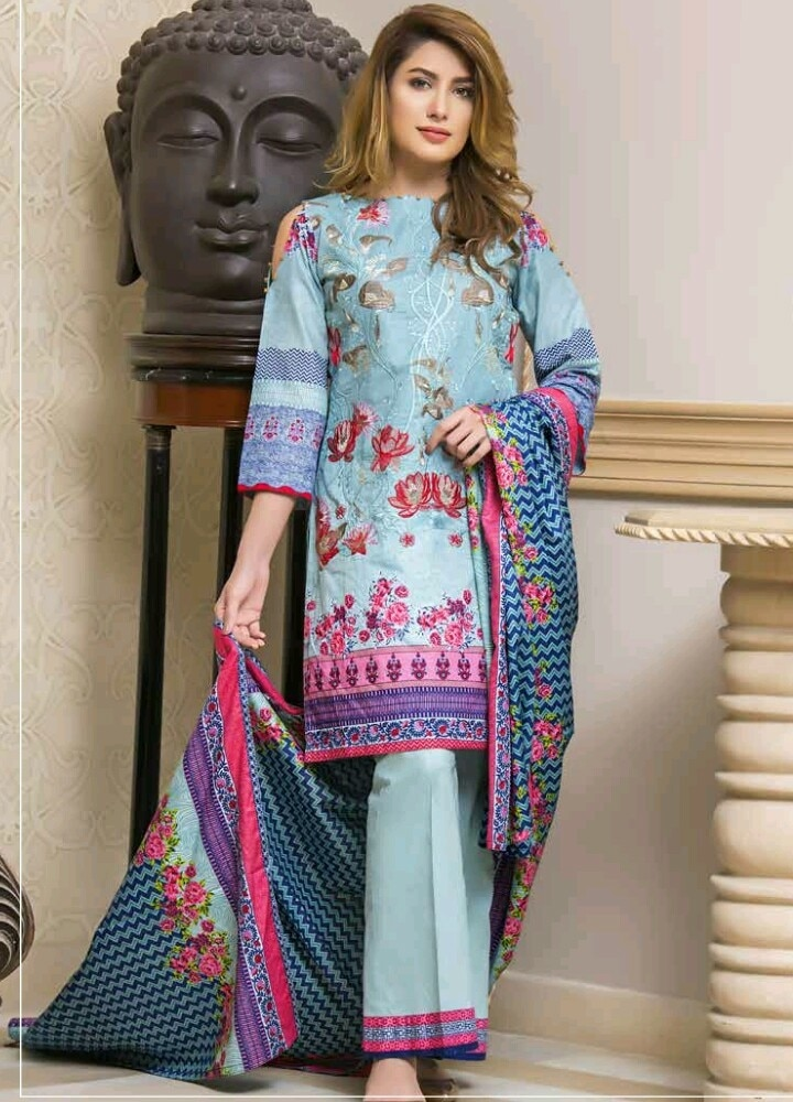 Kalyan brand by z.s textile Embroidered lawn suits with lawn dupattas Price  2000rs+shipping Book on 09831663759