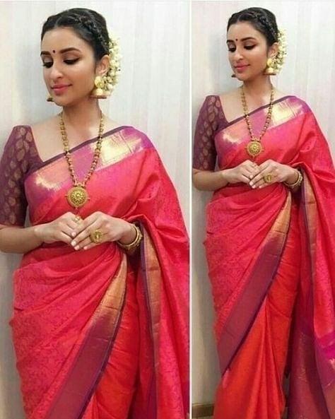 traditional wear saree#wedding-bride #saree #weddingstyle #traditionalindian #traditional #southasianbride #southindian #southindianactress #parineetichopra