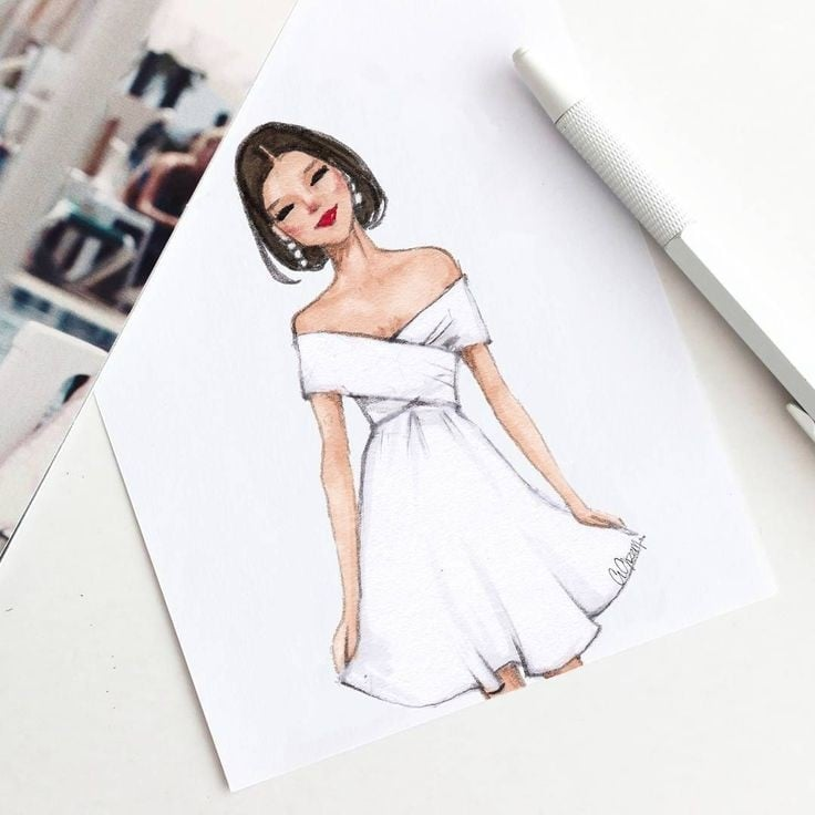 dress #fashiontips #dress #designer #illustration #sketchinglove #white #dress