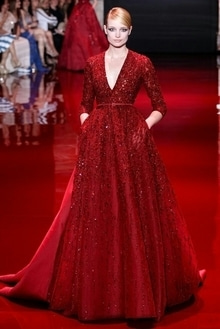 #Red #bling #gown #runway #rampwalk