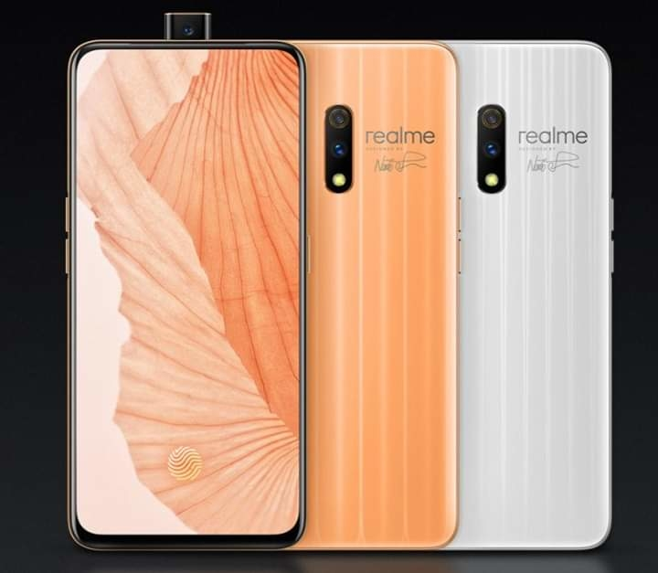 Good News | Good News  India Bangladesh Indonesia US UK   WORLD'S CHEAPEST SMARTPHONE with InDisplay fingerprint and popup selfie Camera coming to INDIA   one and only >> Realme X <3 (Y)  Features: - 6.53-inch (2340  × 1080 pixels) Full HD+ #AMOLED display with 100% NTSC Color Gamut, Corning Gorilla Glass 5 protection  - Octa Core Snapdragon 710 10nm Mobile Platform (Dual 2.2GHz Kryo 360 + Hexa 1.7GHz Kryo 360 CPUs) with Adreno 616 GPU  - 4GB / 6GB (LPPDDR4x) RAM with 64GB storage / 8GB (LPPDDR4x) RAM with 128GB storage  - Dual SIM  - ColorOS 6.0 based on Android 9.0 (Pie)  - 48MP rear camera with 1/2.0″ Sony IMX586 sensor, f/1.7 aperture, 6P lens, LED flash, 5MP secondary rear camera  - 16MP front-facing camera with Sony IMX471 sensor, f/2.0 aperture  - In-display fingerprint sensor  - Dual 4G VoLTE, WiFi 802.11 ac (2.4GHz + 5GHz), Bluetooth 5, GPS + GLONASS  - USB Type-C  - 3765mAh battery (typical) / 3680mAh (minimum) with VOOC 3.0 fast charging  The realme X comes in Steam White and Punk blue colors.  Price:  14999 Rs/ $220 US  15999 Rs / $230 US  17999 Rs / $260 US  ( Coming to India on 3 June