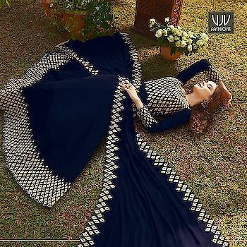 Buy Now @ http://bit.ly/VJV-RAAZ20032  Auspicious Navy Blue Georgette Designer Anarkali Suit  Fabric- Georgette  Product No 👉  VJV-RAAZ20032   @ www.vjvfashions.com