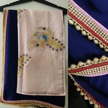 Peacock embroidered Navy Saree #sareecollection2017 by #SimbhaCreations  #peacock #emb #blouse #navysaree #italiansilksaree #beadedlace #goldens #ethniclove #pinkandnavy #lovelycolors🎨 #SimbhaCreations  #sarees