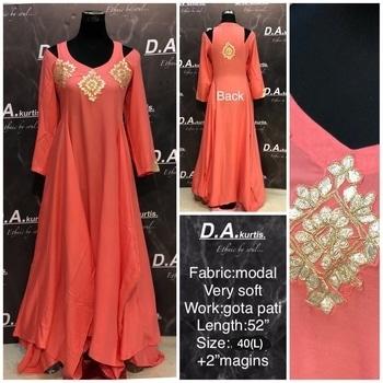 Modal silk gown   #modalsilk #gown #gotapattiwork #funfashion #nakshboutique #fashionforweddings