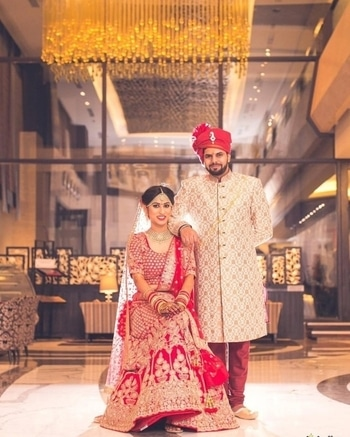 When we are together, we make a picture perfect couple.  Shop for such regal bride & groom outfits from WedLista.com  Pic Courtesy:@plushaffairs  #WedLista #FashionForWedding