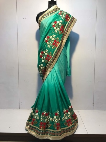 *D NO - PR 2402*  👗SAREE FAB- Mos chinon shaded,    👗BLOUSE FAB - Heavy banglori,     👗WORK - Embroidery work with pearl + sequence + long stich work,     Fancy heavy work in saree  *👗RATE-  1999/- INR Only,  100 % quality gurentee **WHATSAPP ME AT +91 9760614947** #lehenga#lehengacholi#indianfashion#indianweddings#sagan#mehndi#designerdress#delhi#mumbai#fashion#dallas#dallasindia#wedding#indianwedding#london#londonfashionweek#canada#australia#dubaifashion#dubaiethnic#womenfashion#trendy#latest#sareehyderabad#delhi#delhistreet#pune#bangalore#delhiwedding#floral,