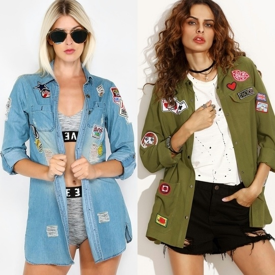 Left : Party Patch Denim Jacket. Right : What a Patch Bomber Jacket. #shopping #onlineshopping #denimjacket #bomberjacket #patches #patchwork #funky #funkyfashion #quirky #quirkyfashion #fashion #collegefashion