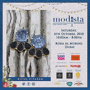 Fun, fabulous accessories to glam up your festive quotient by Royal Pitarah At Modista, Saturday, 6th October 2018, Roda Al Murooj, Dubai. #royalpitarah  #accessories #bags #clutches #jewelry #jewellery #accessorize #styling #earrings #rings #destinationwedding #fashion #fashionistas #fashionexpo #exhibition #designers #indiandesigners #instastyle #instafashion #igfashion #dubai